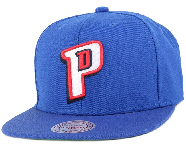 Detroit Pistons Wool Solid 2 Blue Snapback - Mitchell & Ness