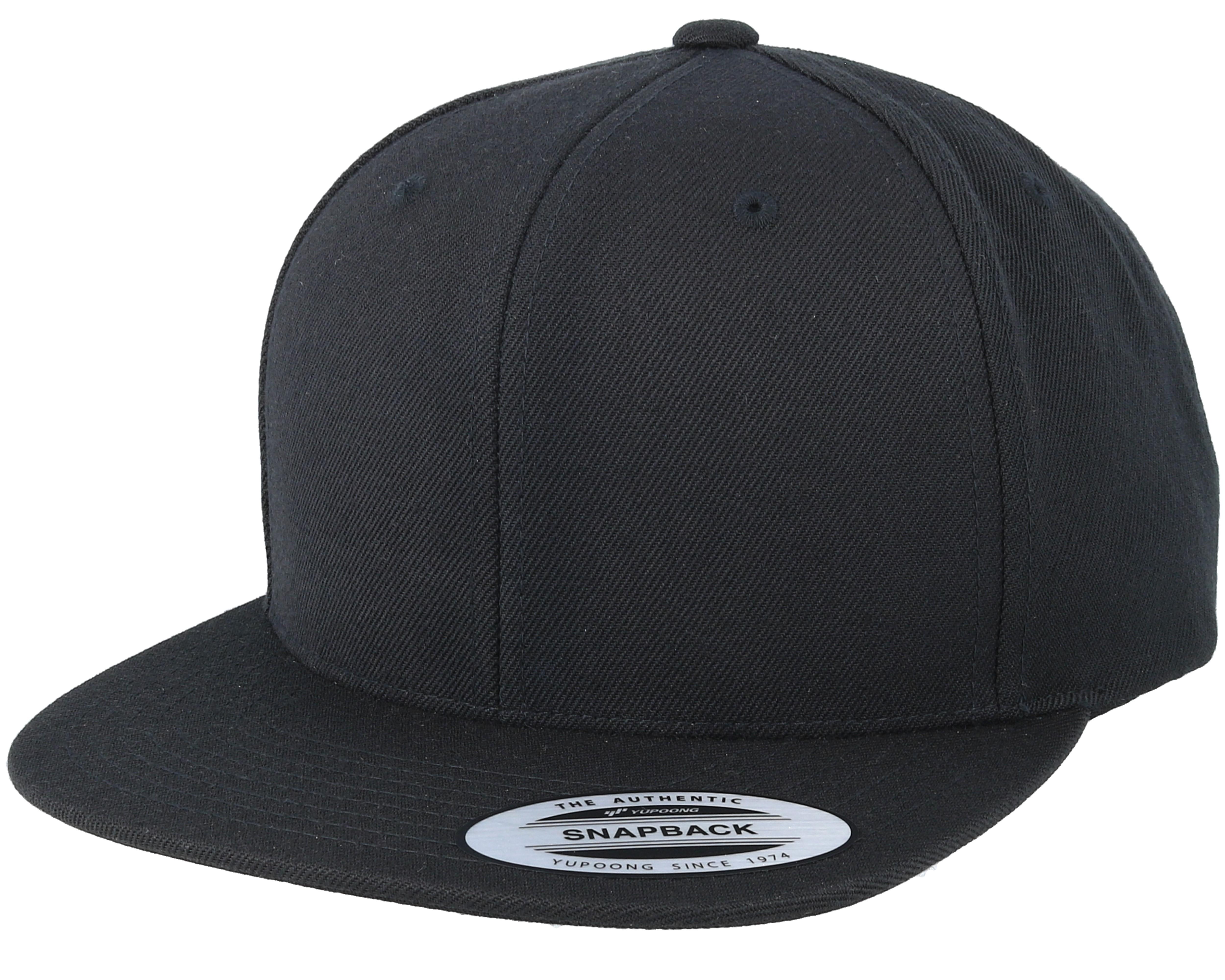 Black/Black Snapback - Yupoong caps | Hatstore.co.uk