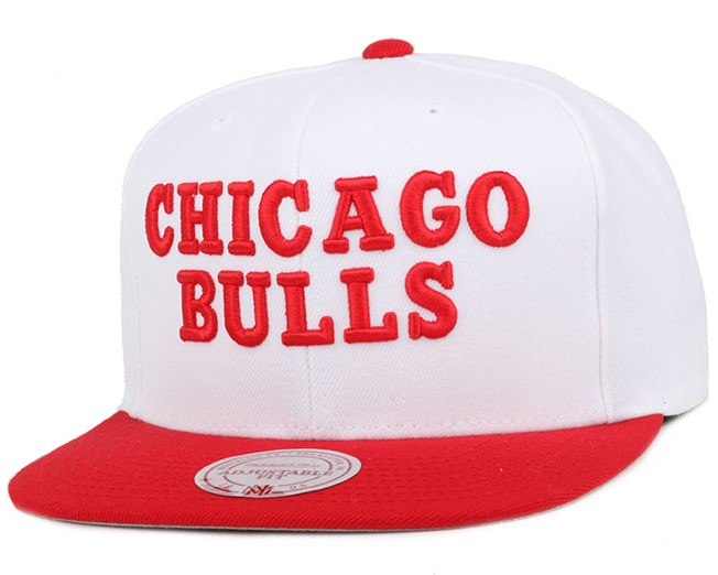 Chicago Bulls 2 Tone Label White/Red Snapback - Mitchell & Ness