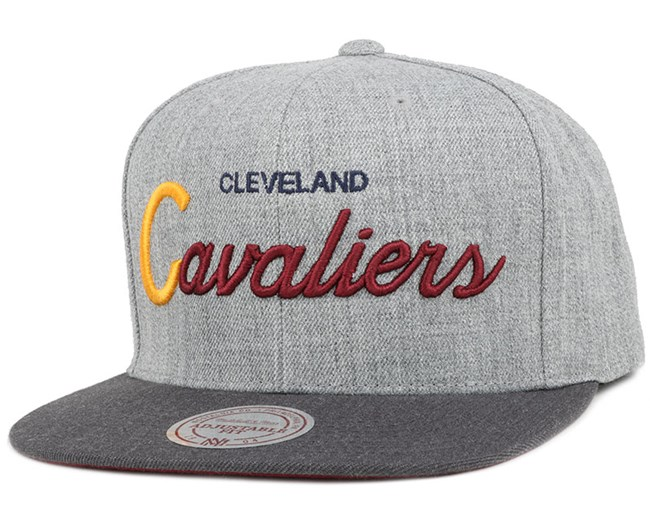 Cleveland Cavaliers Heather Grey/Graphite Snapback - Mitchell & Ness