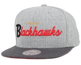 Chicago Blackhawks Heather Grey/Graphite Snapback - Mitchell & Ness