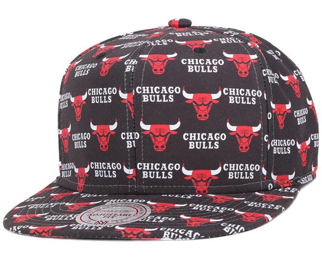 Chicago Bulls Mono Logo Black Snapback - Mitchell & Ness