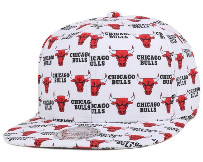 Chicago Bulls Mono Logo White Snapback - Mitchell & Ness