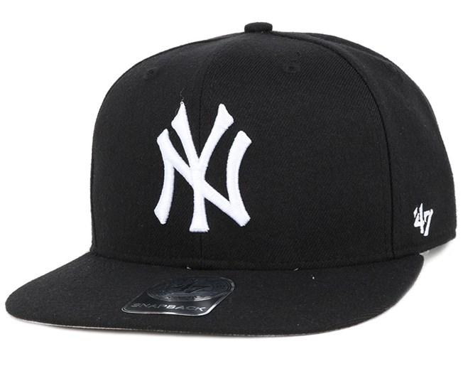 NY Yankees No Shot Black/White Snapback - 47 Brand