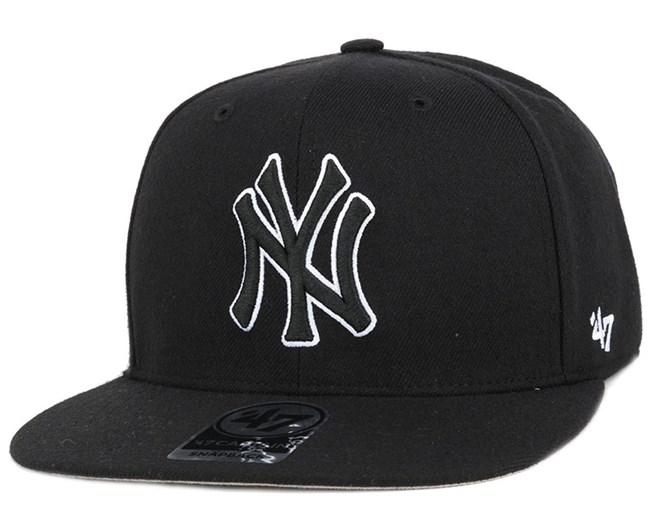 NY Yankees No Shot Captain Black Outline Snapback - 47 Brand