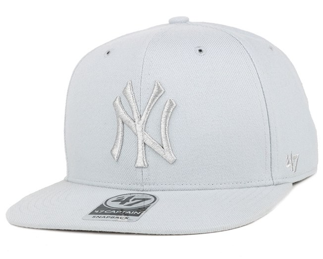 NY Yankees No Shot Metallic Captain Steel Grey Snapback - 47 Brand