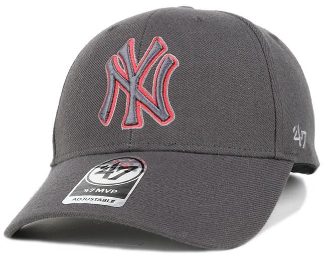 NY Yankees Triple Rush Mvp Charcoal/Red Adjustable - 47 Brand