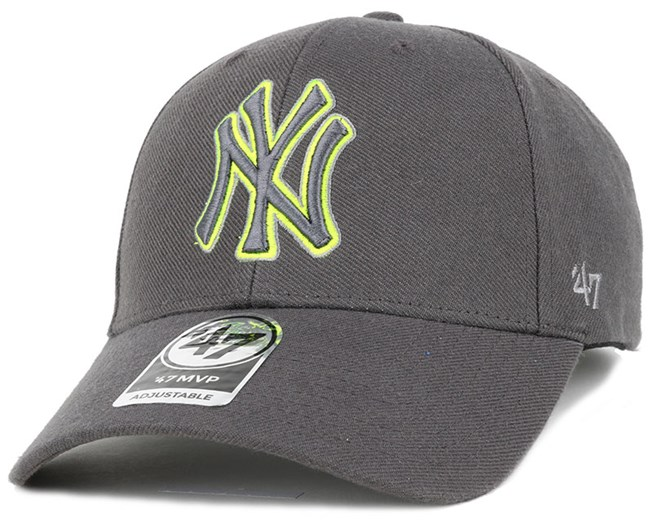 NY Yankees Triple Rush Mvp Charcoal/Lime Green Adjustable - 47 Brand