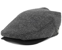 Warren Black Herringbone Flat Cap - Coal