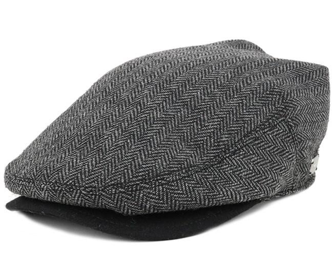 Warren Black Herringbone Flat Cap - Coal