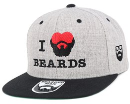 I Love Beards Grey/Black Snapback - Bearded Man