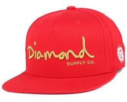 OG Script Red Snapback - Diamond