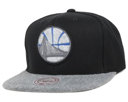 Golden State Warriors Black/Grey Fuzz 2 Tone Snapback - Mitchell & Ness