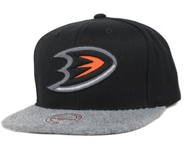 Anaheim Ducks Black/Grey Fuzz 2 Tone Snapback - Mitchell & Ness