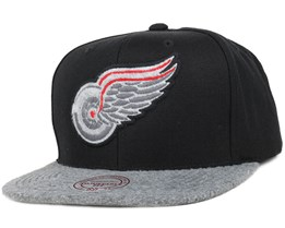 Detroit Red Wings Black/Grey Fuzz 2 Tone Snapback - Mitchell & Ness