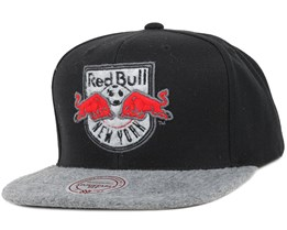 New York Red Bulls Black/Grey Fuzz 2 Tone Snapback - Mitchell & Ness