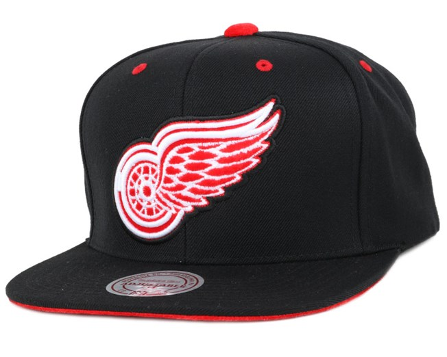 Detroit Red Wings Solid Velour Logo Snapback - Mitchell & Ness