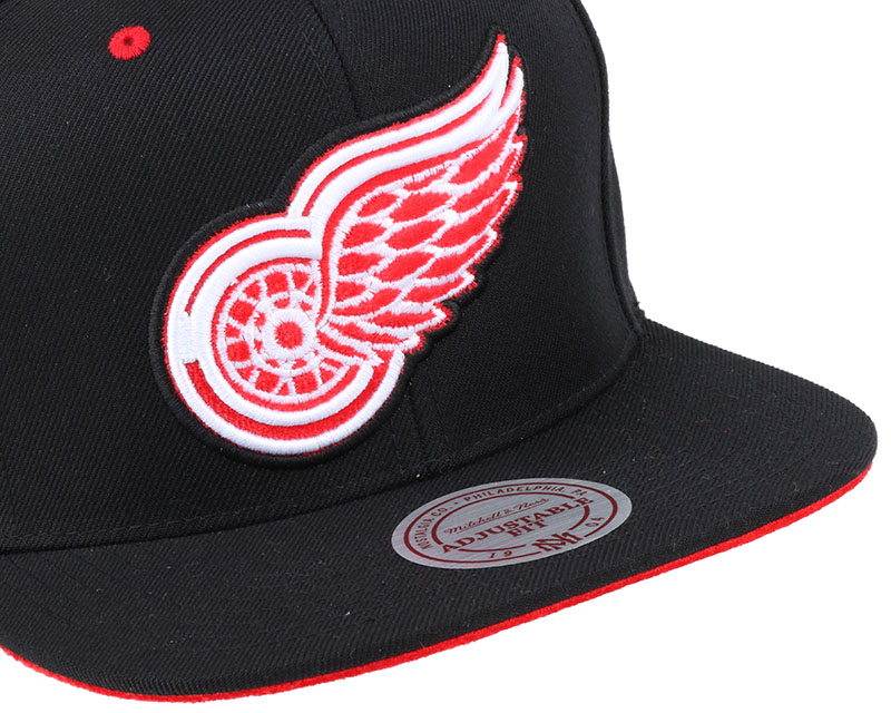 detroit red wings solid velour logo snapback mitchell ness cap. Black Bedroom Furniture Sets. Home Design Ideas