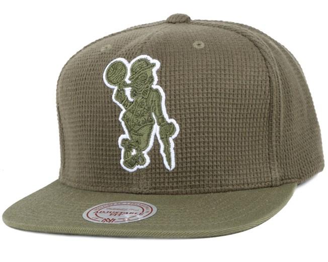 Boston Celtics Waffle Olive Snapback - Mitchell   Ness lippis ... 0ccd014370