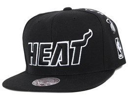 Miami Heat Team Logo History Black Snapback - Mitchell & Ness