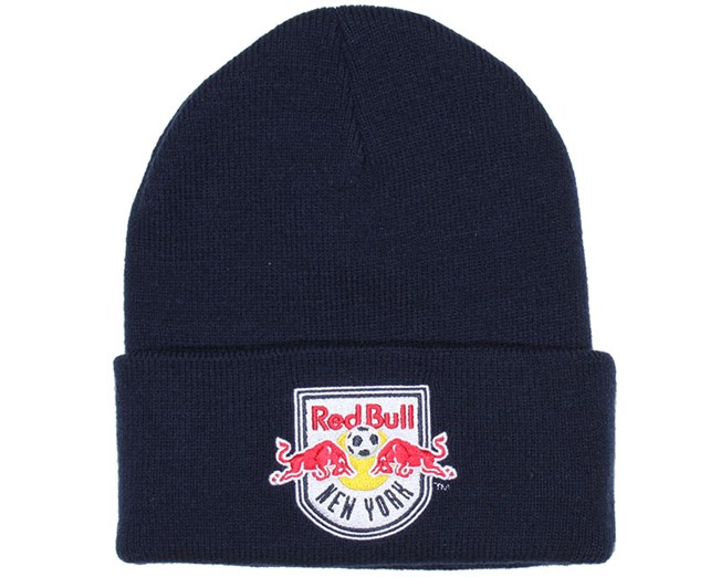NY Red Bulls Navy Logo Beanie - Mitchell & Ness