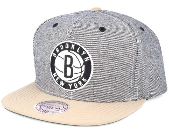 Brooklyn Nets Denim Khaki Snapback - Mitchell & Ness