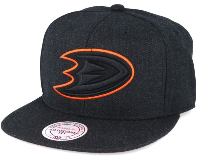 Anaheim Ducks Black Heather Snapback - Mitchell & Ness