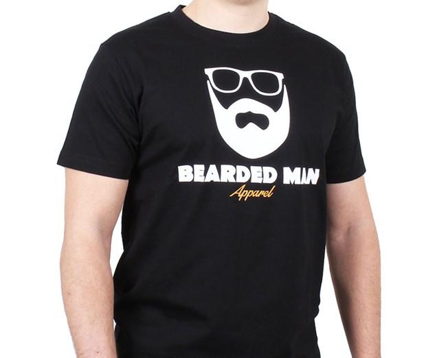 Logo Glasses Black T Shirt Bearded Man