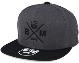 BM Cross Charcoal/Black Snapback - Bearded Man
