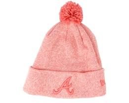 Atlanta Braves Womens Essential Bobble Knit Blossom Heather Beanie - New Era