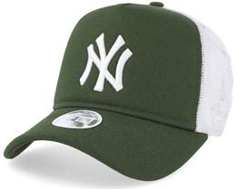 New York Yankees League Essential Women Rifle Green/White Trucker - New Era
