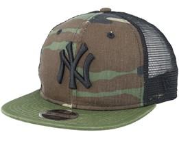 Kids New York Yankees Washed Mesh Black Camo Trucker - New Era