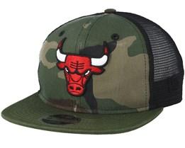 Kids Chicago Bulls Washed Mesh Black Camo Trucker - New Era