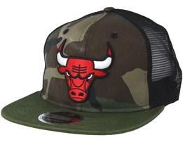 Chicago Bulls Washed Mesh Black Camo Trucker - New Era
