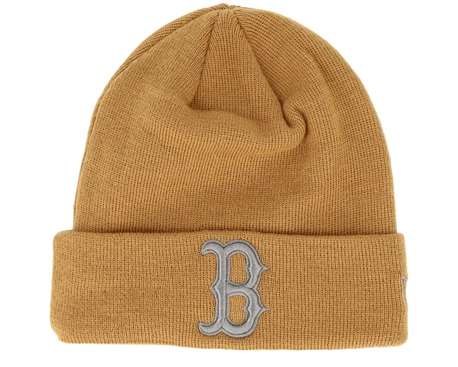 4b003fb946e Boston Red Sox League Essential Knit Camel Grey Cuff - New Era ...