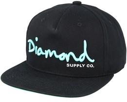 Script Black Snapback - Diamond