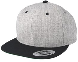 Heather Grey/Black Snapback - Yupoong