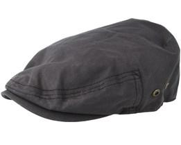 Driver Cap Waxed Cotton Black Flat Cap- Stetson