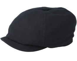 6-Panel Virgin Wool/Cashmere Black Flat Cap - Stetson