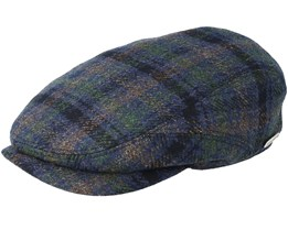 Checked Wool/Cashmere Blue/Green Flat Cap - Stetson