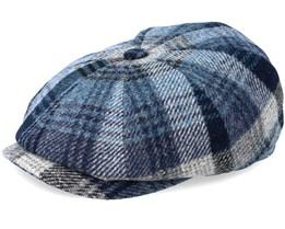 Hatteras Woolrich Check Grey/Blue Flat Cap - Stetson