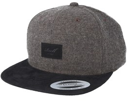 Suede 6-Panel Brown Herringbone Snapback - Reell