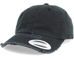 Dad Cap Ripped Black Adjustable - Yupoong