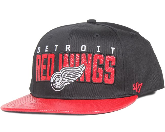 Detroit Red Wings Redondo Black Snapback - 47 Brand caps  20f1f05e18b