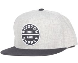 Oath III Light Heather Grey/Black Snapback - Brixton