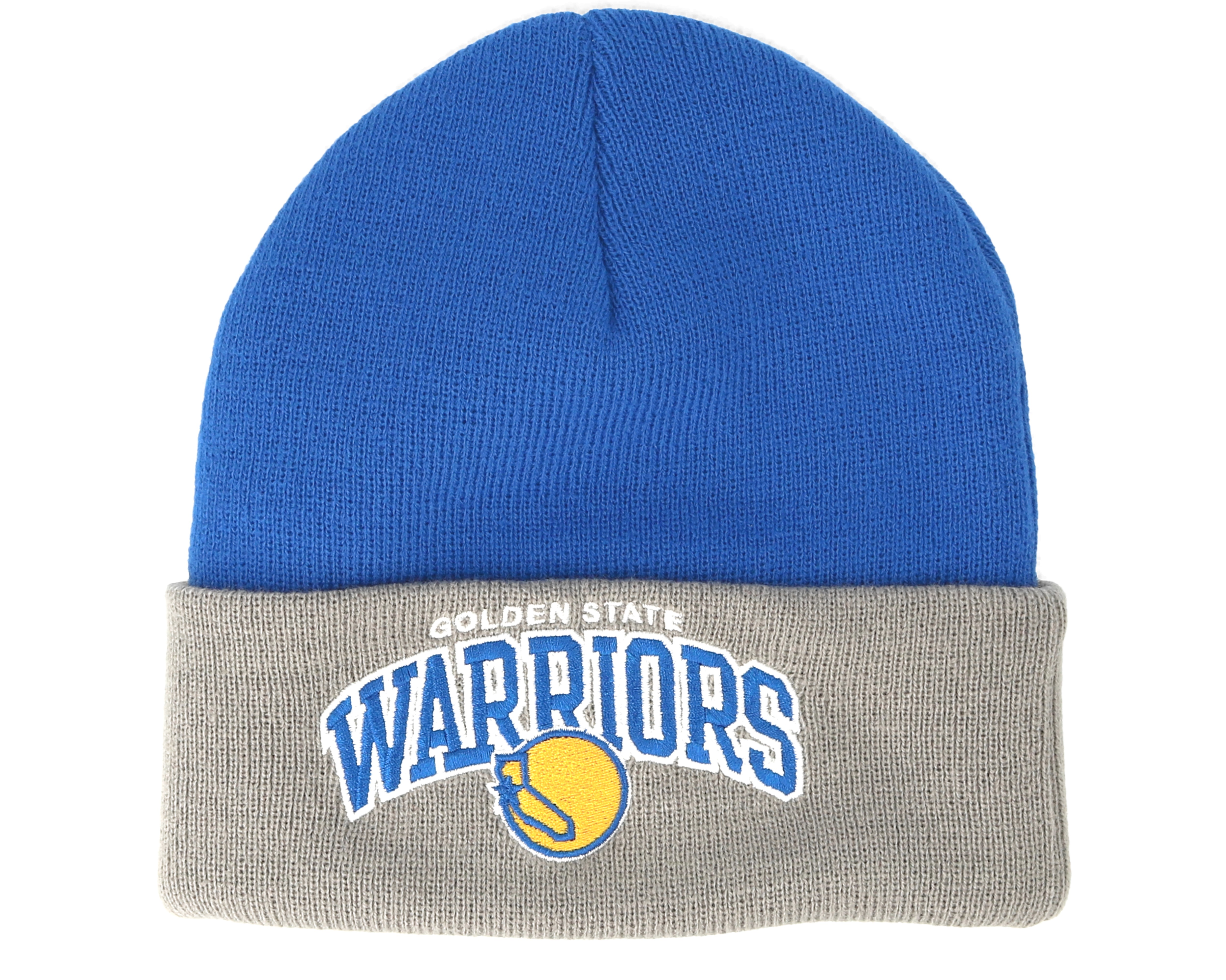 f6abb5ea45a Golden State Warriors Arched Knit Blue Grey Cuff - Mitchell   Ness ...