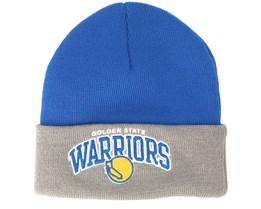 Golden State Warriors Arched Knit Blue/Grey Cuff - Mitchell & Ness