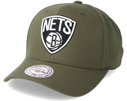 Brooklyn Nets B&W Logo 110 Curved Olive Adjustable - Mitchell & Ness