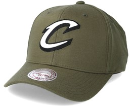 Cleveland Cavaliers B&W Logo 110 Curved Olive Adjustable - Mitchell & Ness