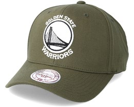 Golden State Warriors B&W Logo 110 Curved Olive Adjustable - Mitchell & Ness
